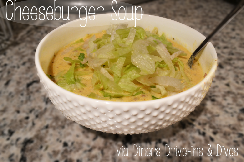 Cheeseburger Soup Recipe via Diners Drive-ins and Dives