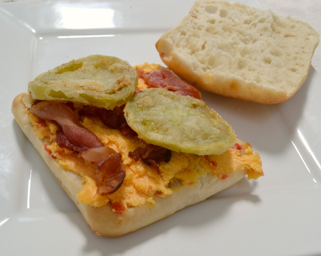 ... tomatoes, place 1 or 2 slices of fried green tomatoes on top of the